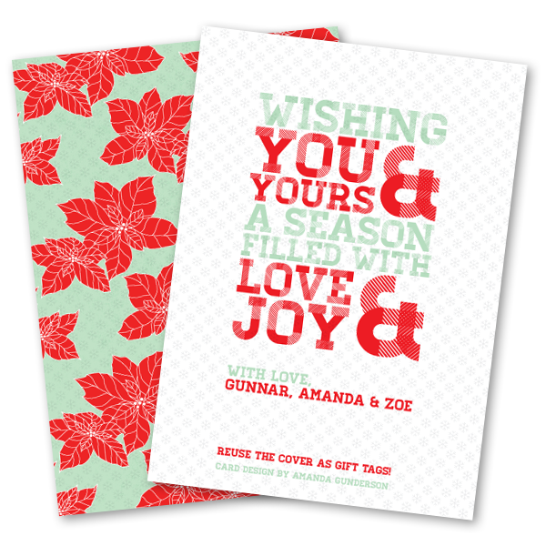 holiday card designed to be reused as gift tags - Holiday Card Design